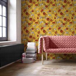 papel-de-parede-floral-moderno-mostarda