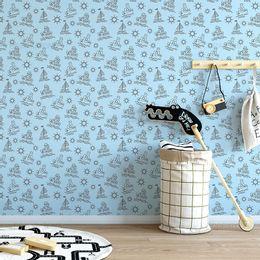 papel-de-parede-barco-no-mar-azul-claro