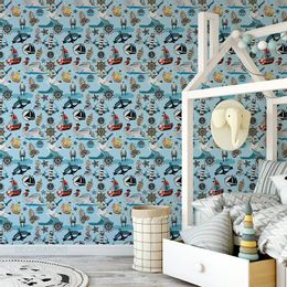 papel-de-parede-barcos-navios-marujos-e-sereia-azul-claro-1