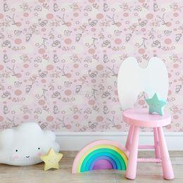 papel-de-parede-animais-silvestres-esboco-rosa-claro