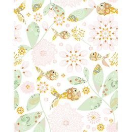 papel-de-parede-peixes-e-flores-amarelo-claro