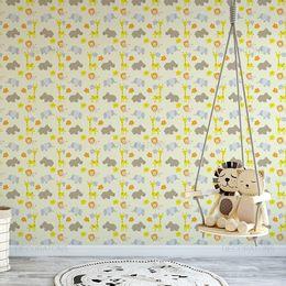 papel-de-parede-hipopotamo-com-girafa-e-elefante-com-leao-amarelo-claro