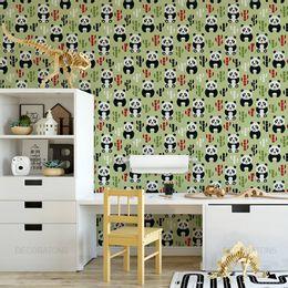 papel-de-parede-panda-e-bambu-verde-musgo