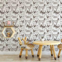 papel-de-parede-caes-pug-e-dachshund-com-dalmata-grafite-1