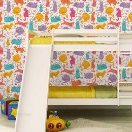 papel-de-parede-gatos-coloridos