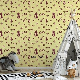 papel-de-parede-patas-de-gatos-amarelo-claro