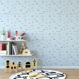 papel-de-parede-cachorros-animados-e-carros-azul-claro-1