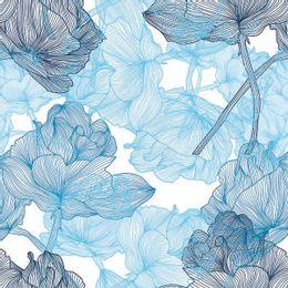 papel-de-parede-rosas-riscos-detalhados-azul-claro