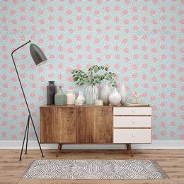 papel-de-parede-rosas-e-mini-flores-turquesa-1