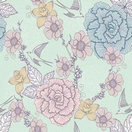 papel-de-parede-flores-e-passarinhos-verde