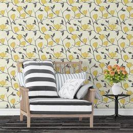 papel-de-parede-vintage-floral-arabesco-amarelo-claro