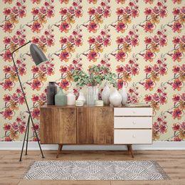 papel-de-parede-floral-tropical-abstrato-creme