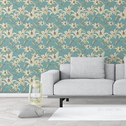 papel-de-parede-lirios-moderno-azul-acinzentado