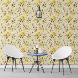 papel-de-parede-poa-com-flores-amarelo-claro