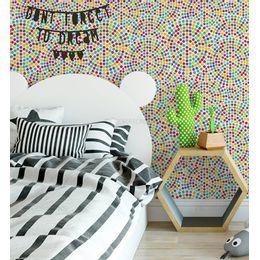 papel-de-parede-poa-bolinhas-mosaico-15cm-colorida
