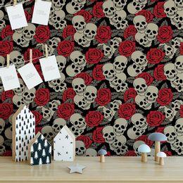 papel-de-parede-caveira-com-rosas-preto