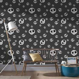 papel-de-parede-caveira-fofa-grafite