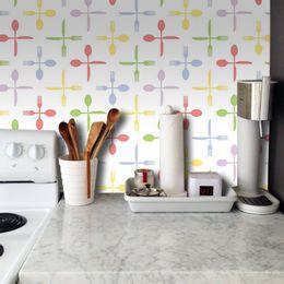 papel-de-parede-talheres-coloridos-branco
