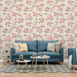 papel-de-parede-delicadas-flores-rosas-palha