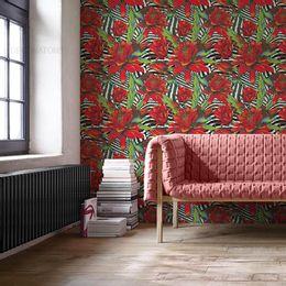 papel-de-parede-flores-primavera-listrado-moderno-vermelho