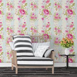 papel-de-parede-listrado-floral-suave-cor-rosa