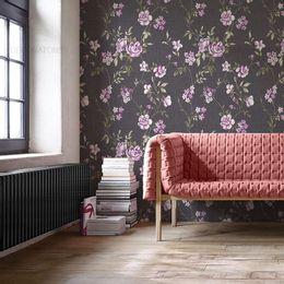 papel-de-parede-pequenas-rosas-grafite