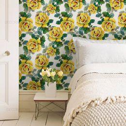 papel-de-parede-floral-amarelo-pintura