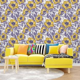 papel-de-parede-petalas-de-flores-retro-mostarda
