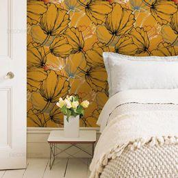 papel-de-parede-retro-em-floral-mostarda
