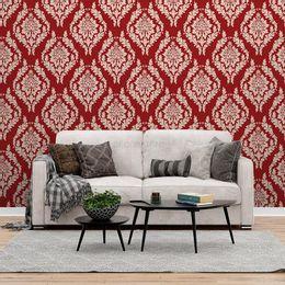 papel-de-parede-vintage-com-desenhos-grande-fundo-vermelho