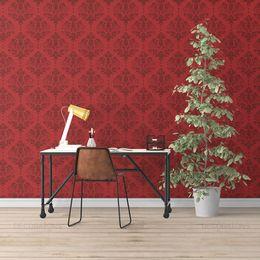 papel-de-parede-vintage-vermelho-listrado