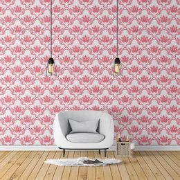 papel-de-parede-vintage-floral-e-arabesco-coral