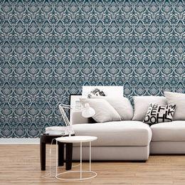 papel-de-parede-vintage-azul-cobalto-e-cinza