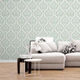papel-de-parede-vintage-verde-claro-com-cinza
