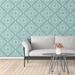 papel-de-parede-vintage-verde-acinzentado-com-desenhos-branco