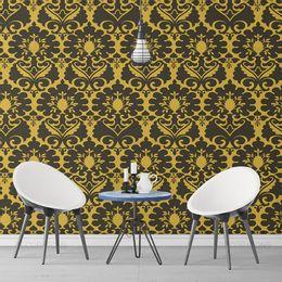 papel-de-parede-vintage-mostarda-com-desenhos-escuro