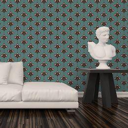 papel-de-parede-vintage-verde-acinzentado-com-desenhos