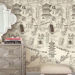 papel-de-parede-japones-maneki-neko-creme