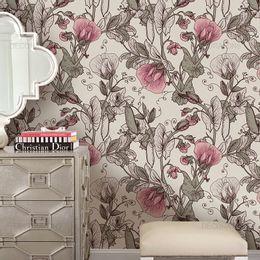 papel-de-parede-floral-retro-suave-palha