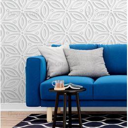 papel-de-parede-geometrico-floral-efeito-3D